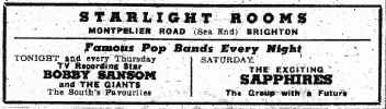 The Starlight Rooms advert 1963